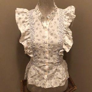 Rebecca Taylor La Vie ruffled sleeve floral top